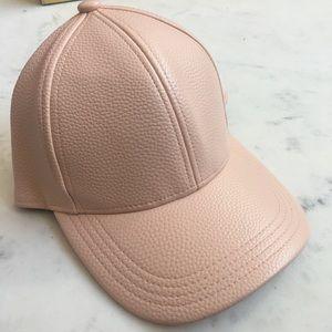 Blush Pink Faux Leather Baseball Hat
